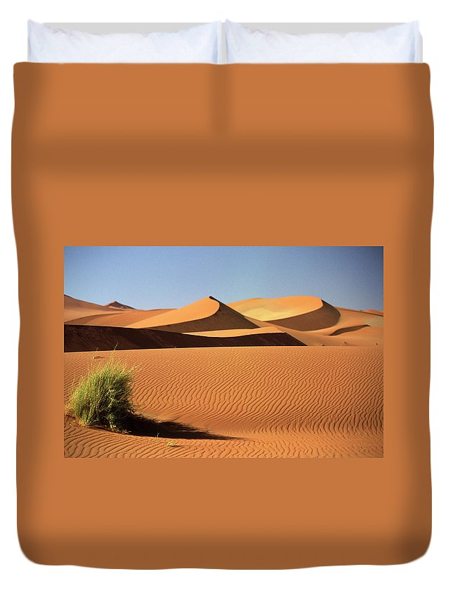Shadow Duvet Cover featuring the photograph Sand Dunes In Namib Desert, Namibia by Walter Bibikow