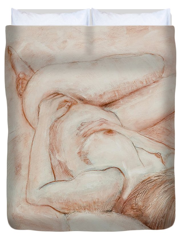 Female Duvet Cover featuring the drawing Sanguine Nude by Kerryn Madsen-Pietsch