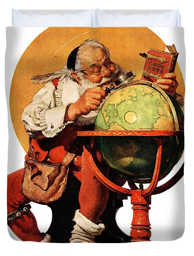 Globes Duvet Cover featuring the drawing Santa At The Globe by Norman Rockwell