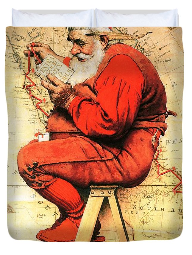 Christmas Duvet Cover featuring the drawing Santa At The Map by Norman Rockwell
