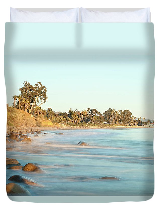 Water's Edge Duvet Cover featuring the photograph Santa Barbara by Andrewhelwich