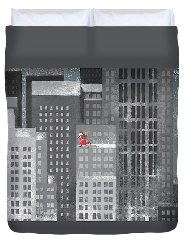 Shadow Duvet Cover featuring the digital art Santa Clause Running On A Skyscraper by Jutta Kuss