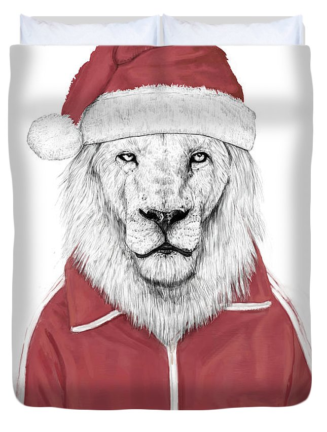 Lion Duvet Cover featuring the mixed media Santa Lion by Balazs Solti