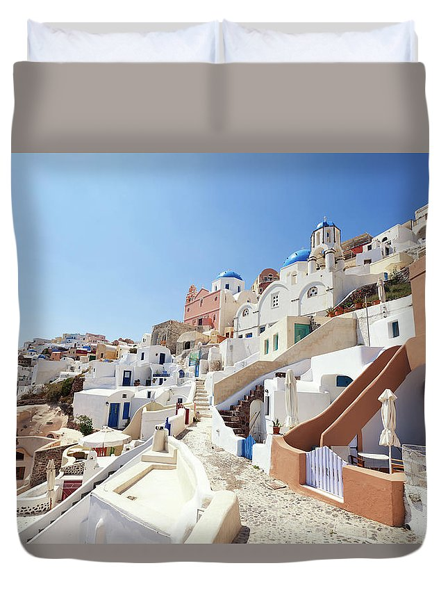 Steps Duvet Cover featuring the photograph Santorini, Churches And Houses by Richmatts