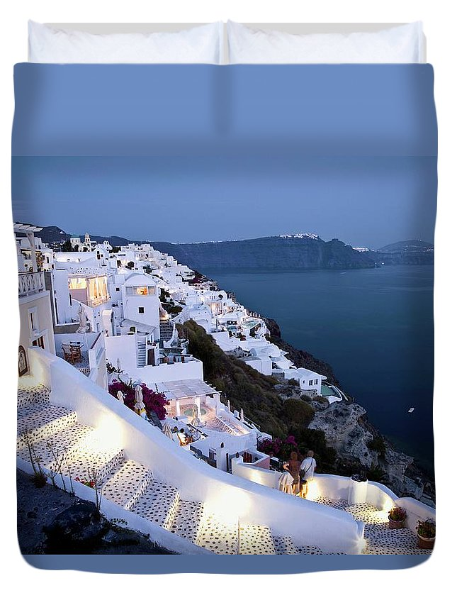 Greece Duvet Cover featuring the photograph Santorini, Greece At Twilight by Peter Gridley