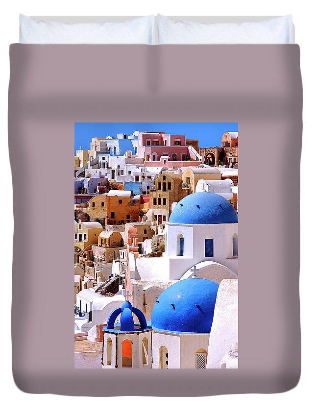 Greek Culture Duvet Cover featuring the photograph Santorini by Robert Louden
