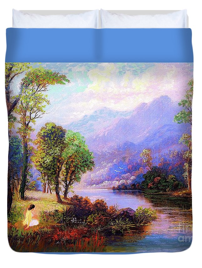 Meditation Duvet Cover featuring the painting Sapphire Dreams by Jane Small