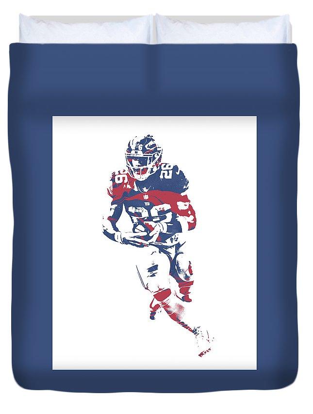 Saquon Barkley Duvet Cover featuring the mixed media Saquon Barkley New York Giants Pixel Art 11 by Joe Hamilton