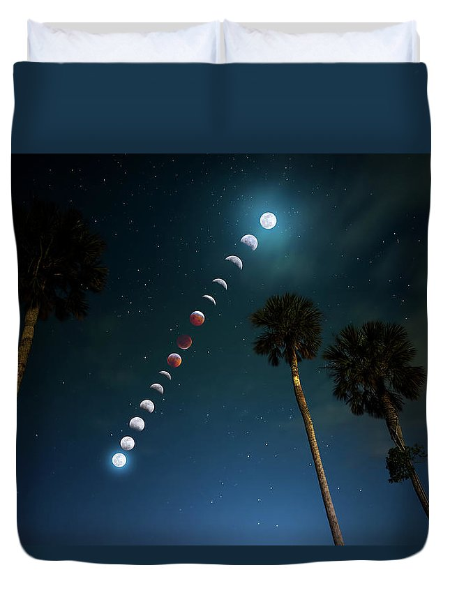 Moon Duvet Cover featuring the photograph Satellite Sky by Mark Andrew Thomas