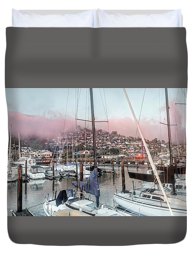 Sausalito Duvet Cover featuring the photograph Sausalito California Elegant Pink by Betsy Knapp