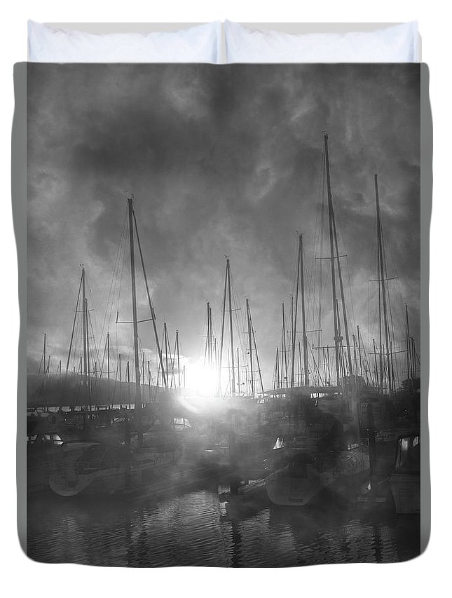 Sausalito Duvet Cover featuring the photograph Sausalito California Mystical Magical Harbor Sunrise by Betsy Knapp