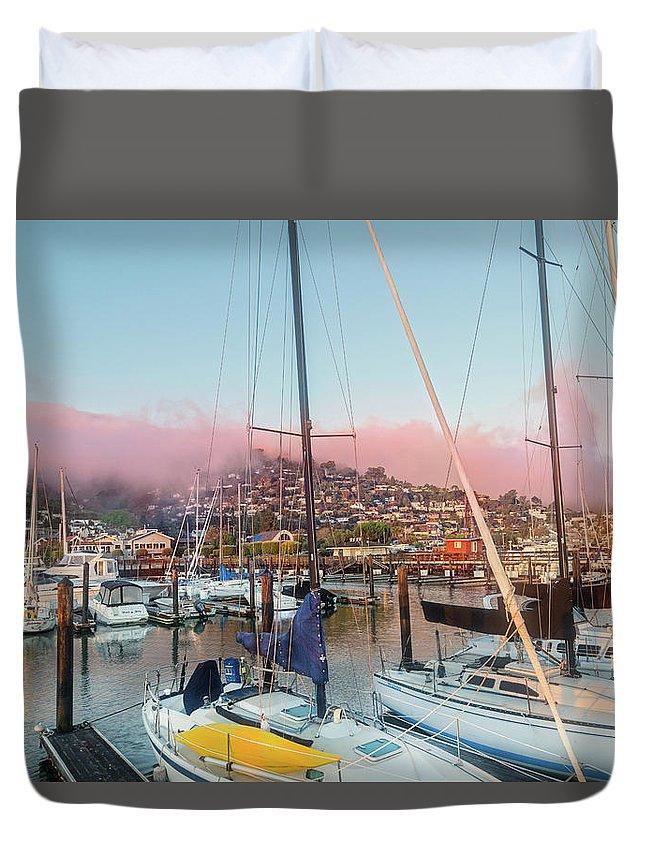 Sausalito Duvet Cover featuring the photograph Sausalito California Pink Ribbon Morning by Betsy Knapp