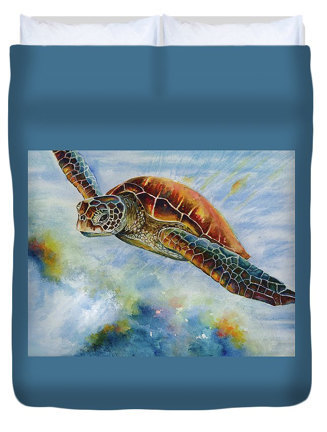 Sea Turtle Duvet Cover featuring the painting Save The Turtles by Linda Eader