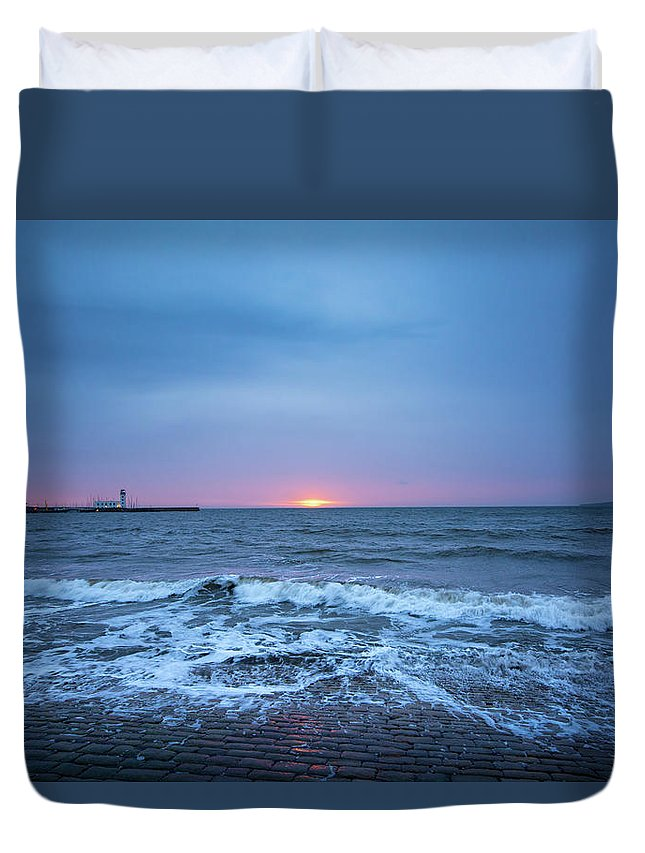 Scarborough Duvet Cover featuring the mixed media Scarborough by Smart Aviation