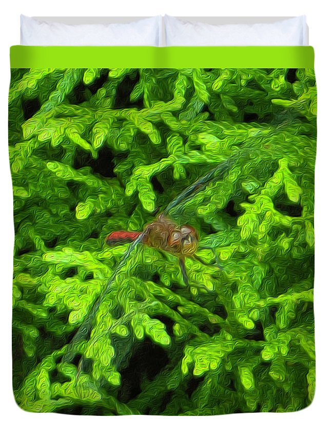 Scarlet Duvet Cover featuring the photograph Scarlet Darter Male Dragonfly by Rockin Docks