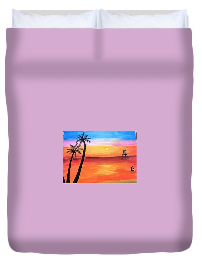 Canvas Duvet Cover featuring the painting Scenary by Aswini Moraikat Surendran