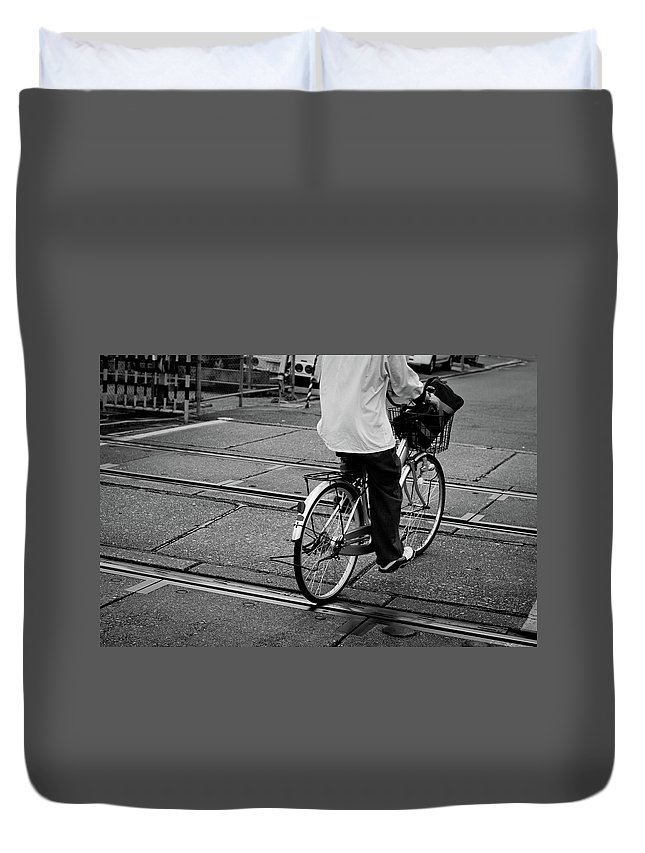 Child Duvet Cover featuring the photograph Schoolboy Bicycling Across Railroad by Hedgy Nathan Wright