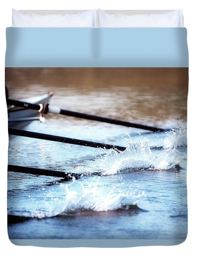 Sport Rowing Duvet Cover featuring the photograph Sculling Team Rowing On Water by Robert Llewellyn