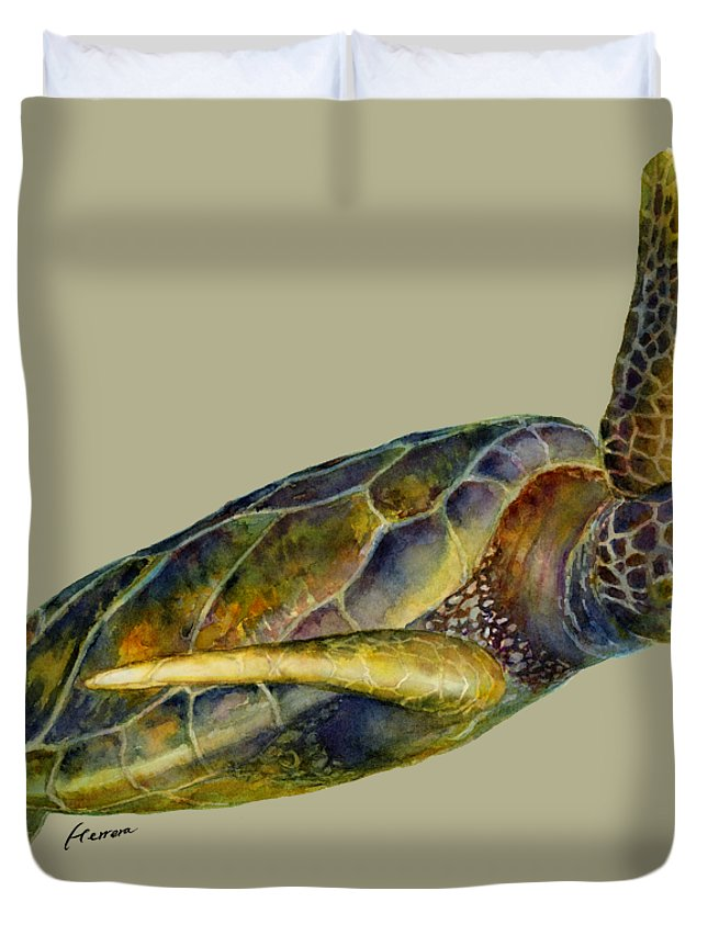 Underwater Duvet Cover featuring the painting Sea Turtle 2 - Solid Background by Hailey E Herrera