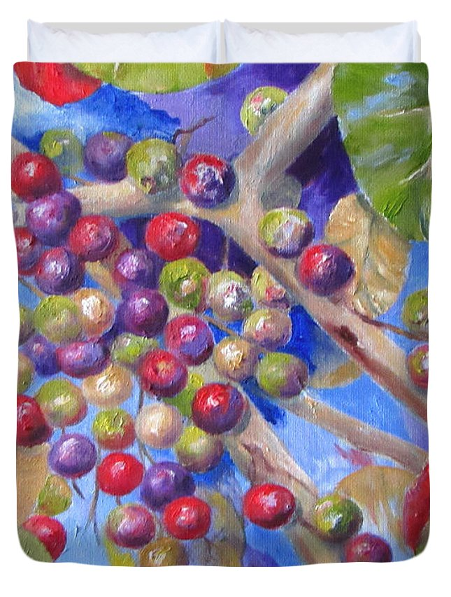 Seagrapes Duvet Cover featuring the painting Seagrapes by Lisa Boyd