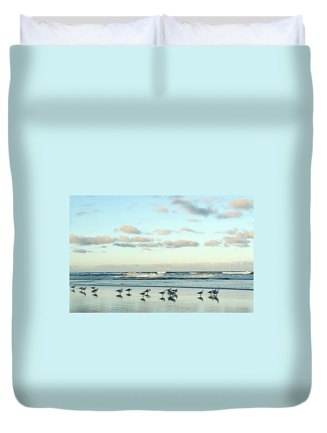 Working Duvet Cover featuring the photograph Seagulls In Heaven V2 by Breecedownunder