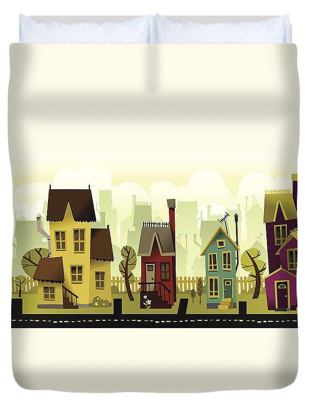 Grass Duvet Cover featuring the digital art Seamless Neighborhood by Doodlemachine