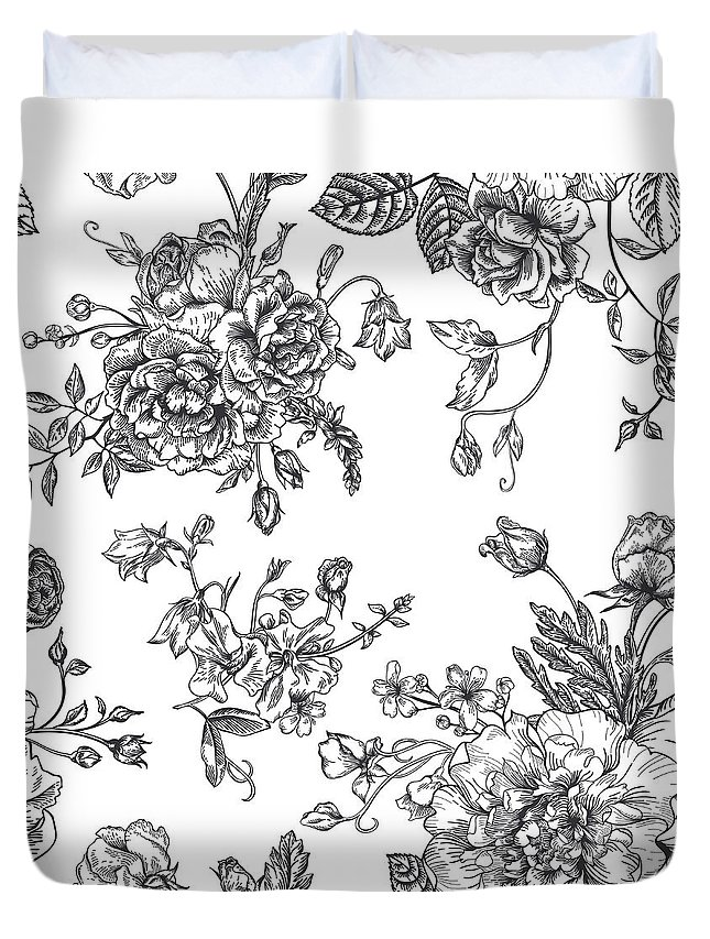 Art Duvet Cover featuring the digital art Seamless Pattern With Bouquet Of by Nata slavetskaya