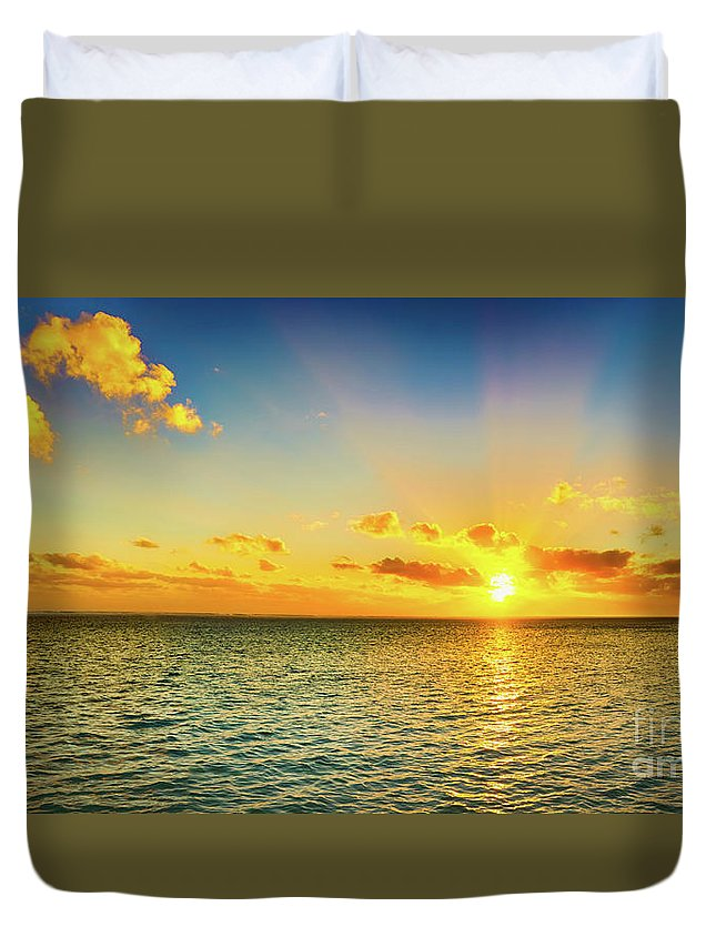 Panorama Duvet Cover featuring the photograph Seascape At Sunset. Panorama by MotHaiBaPhoto Prints