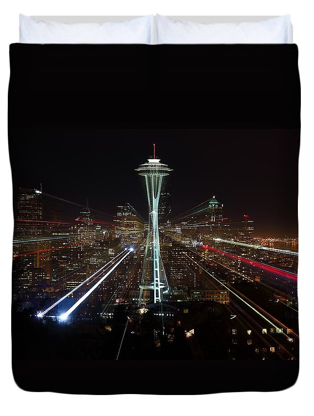 Laser Duvet Cover featuring the photograph Seattle Skyline Laser Show by Jonkman Photography