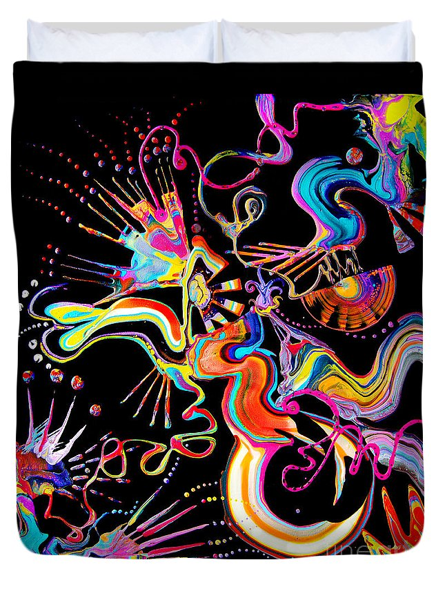 Fluid Etherial Flowing Exciting Vibrant Charming Compelling Fun Colorful Energetic Youthful Duvet Cover featuring the painting Secret Fairy Moon by Priscilla Batzell Expressionist Art Studio Gallery