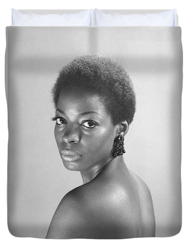 Looking Over Shoulder Duvet Cover featuring the photograph Semi Dress Woman Posing In Studio, B&w by George Marks