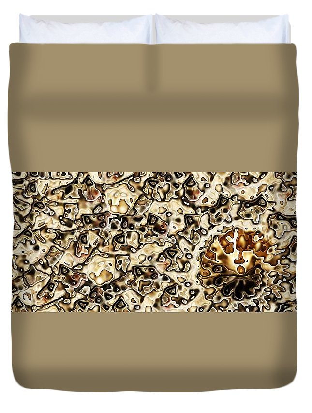 Abstract Duvet Cover featuring the digital art Sepia Collisions by Ron Bissett