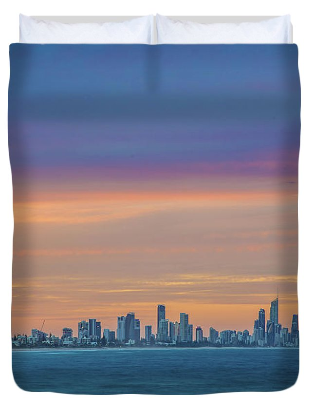 Gold Coast Skyline Duvet Cover featuring the photograph Serene And Magical by Az Jackson