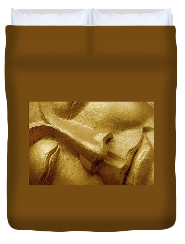 Chinese Culture Duvet Cover featuring the photograph Serenity In Buddha by T-immagini