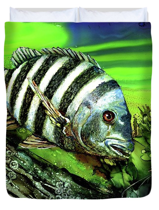 Sheep Head Duvet Cover featuring the painting Sheepshead Lunch by Linda Eader