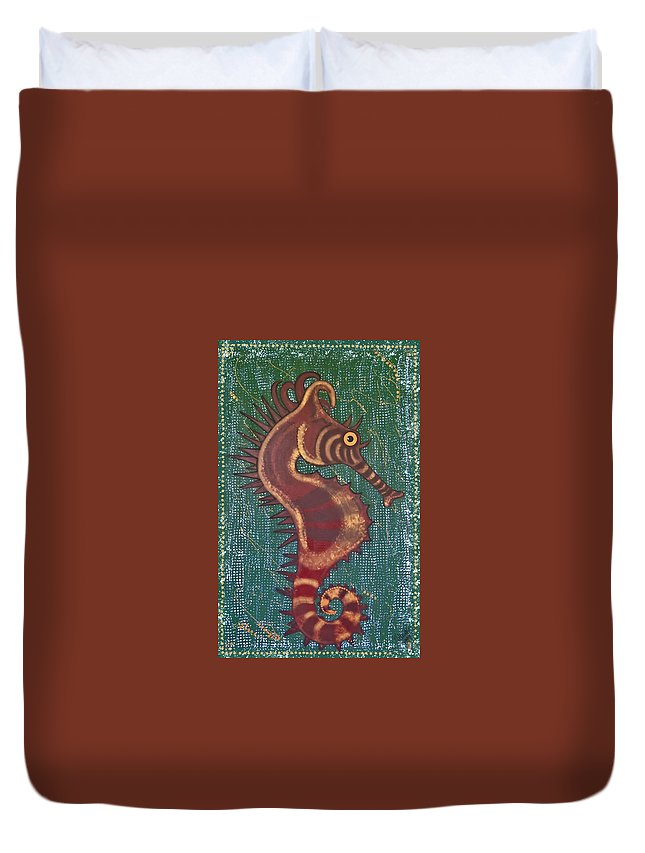 Seahorse Duvet Cover featuring the painting Shehorse by Joan Stratton