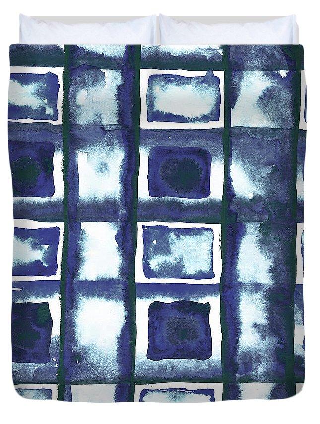 Shibori Duvet Cover featuring the mixed media Shibori Box Pattern II by Elizabeth Medley