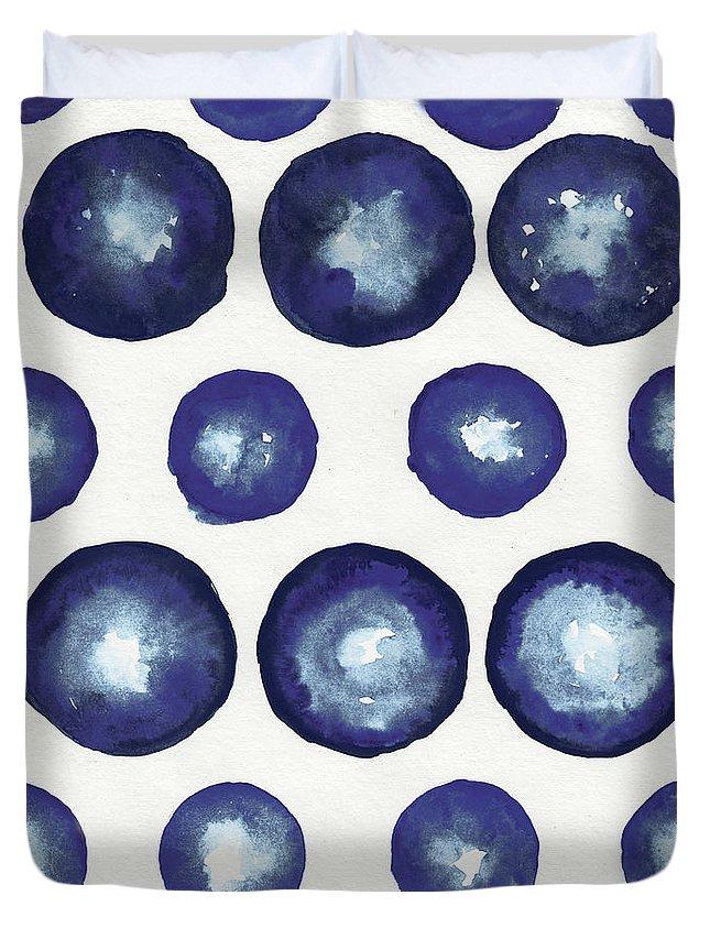 Shibori Duvet Cover featuring the mixed media Shibori Dots by Elizabeth Medley