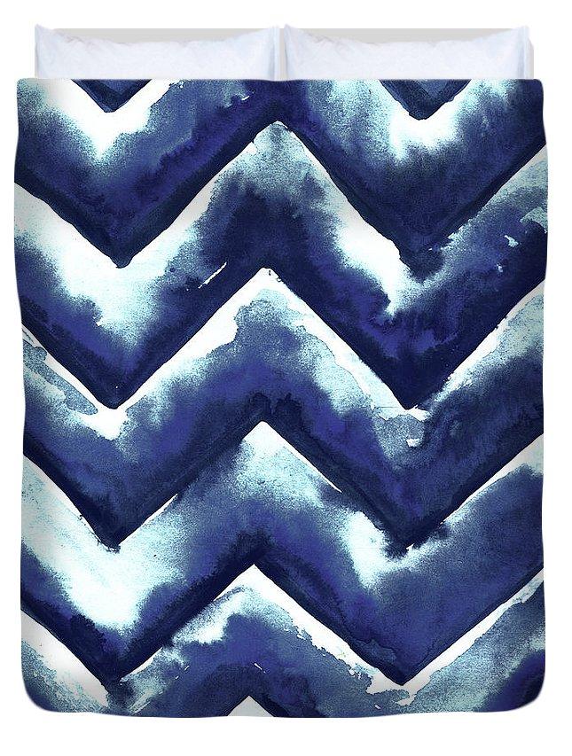 Shibori Duvet Cover featuring the mixed media Shibori Zig Zag by Elizabeth Medley