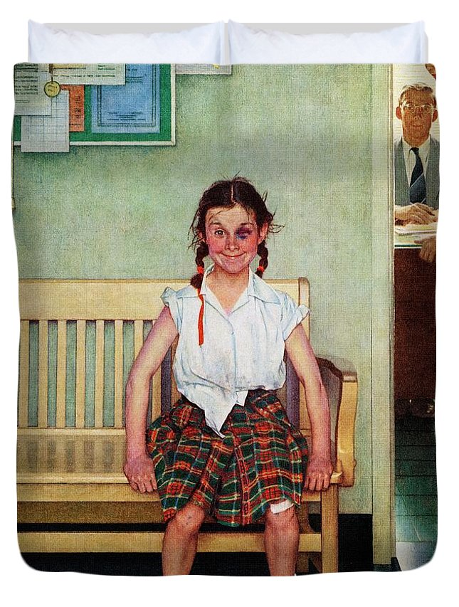 Black Eyes Duvet Cover featuring the drawing Shiner by Norman Rockwell