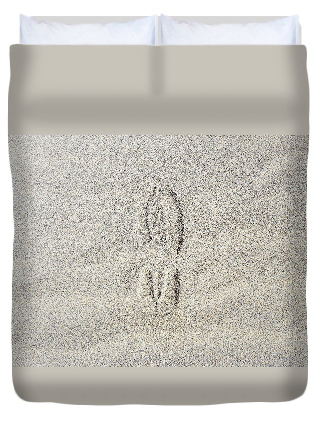 California Duvet Cover featuring the photograph Shoe Print In Sand by Thomas Northcut