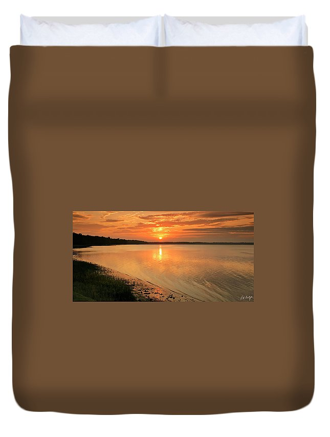 Beaufort County Duvet Cover featuring the photograph Shoreline Sunset by Phill Doherty