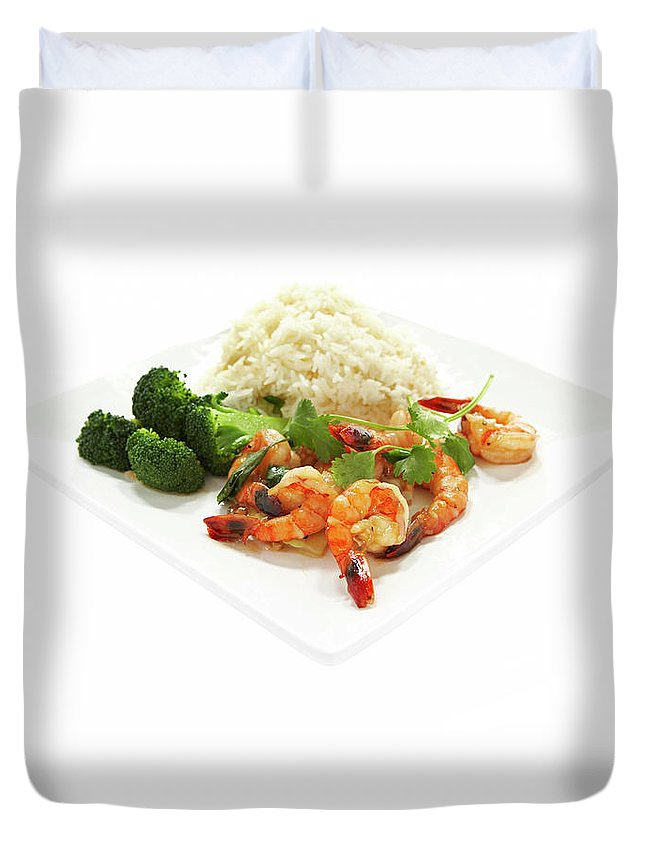 Broccoli Duvet Cover featuring the photograph Shrimp Stir Fry On Plate On White by Thomas Northcut