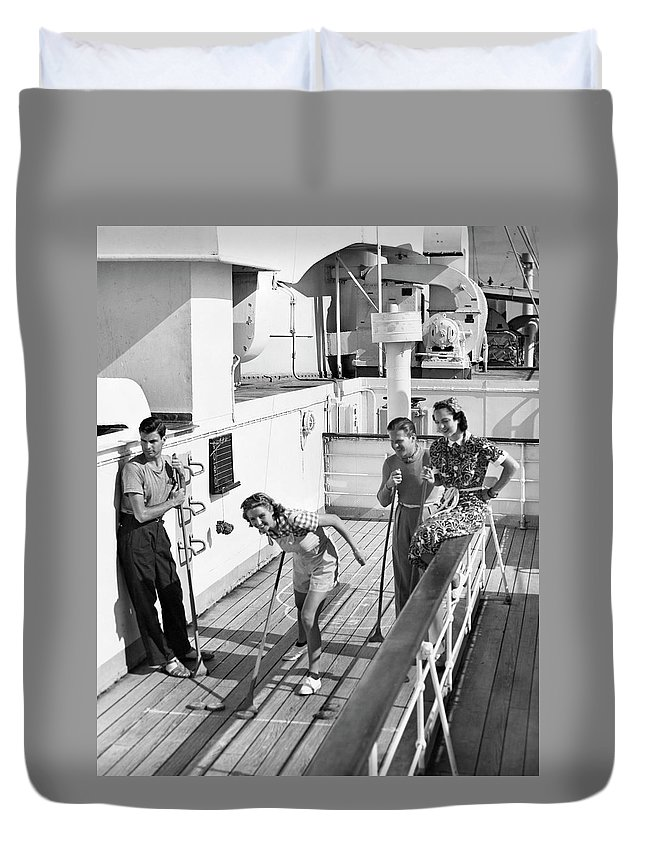 Heterosexual Couple Duvet Cover featuring the photograph Shuffleboard Players by George Marks