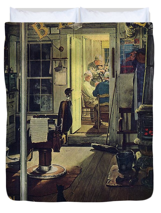 Barbers Duvet Cover featuring the drawing Shuffleton's Barbershop by Norman Rockwell