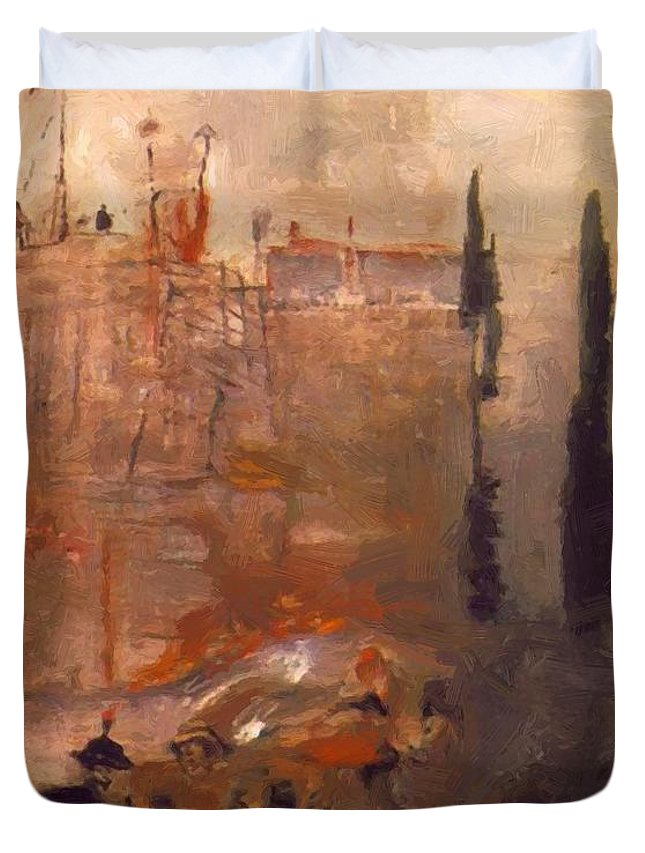 Siege Duvet Cover featuring the painting Siege Of A Castle 1910 by Gulacsy Lajos