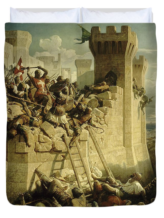 Papety Duvet Cover featuring the painting Siege Of Acre, 1291 by Dominique Papety