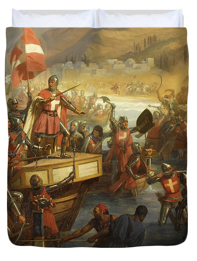 Siege Of Smyrna Duvet Cover featuring the painting Siege Of Smyrna by Charles-Alexandre Debacq