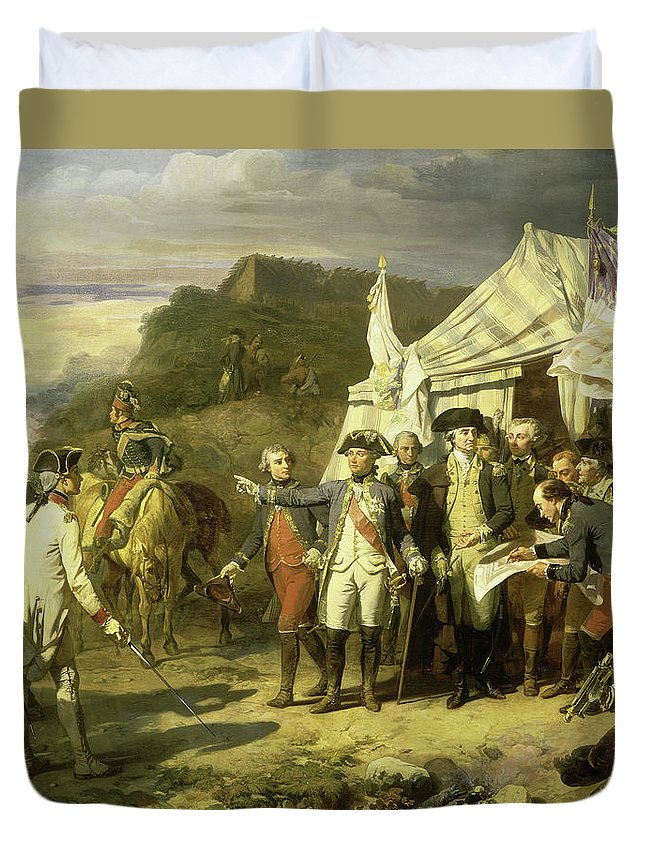 Auguste Couder Duvet Cover featuring the painting Siege Of Yorktown, 17th October 1781 by Auguste Couder