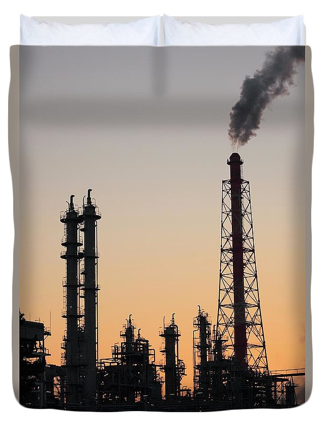 Built Structure Duvet Cover featuring the photograph Silhouette Of Petrochemical Plant by Hiro/amanaimagesrf